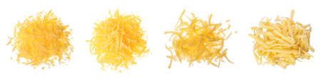 Set with grated cheese on white background, top view. Banner design