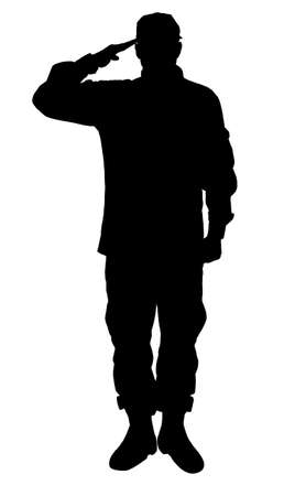 Silhouette of soldier in uniform on white background. Military service