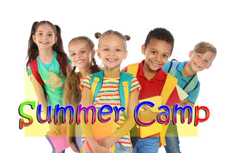 Group of little children with backpacks on white background. Summer camp 版權商用圖片