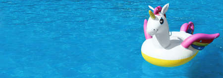 Funny inflatable unicorn ring floating in swimming pool on sunny day, space for text. Banner design