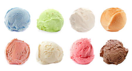 Set with scoops of different ice creams on white background. Banner design