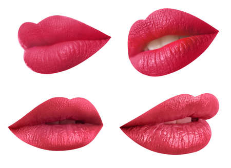 Set of mouths with beautiful makeup on white background. Stylish red lipstick