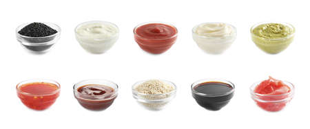 Set of different delicious sauces and condiments on white background. Banner design