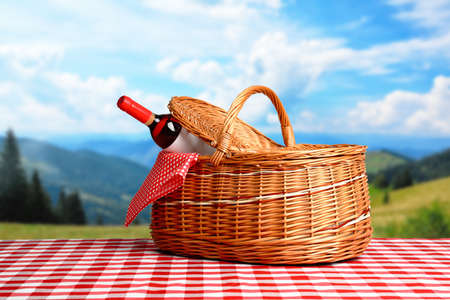 Picnic basket with bottle of wine on checkered tablecloth in park