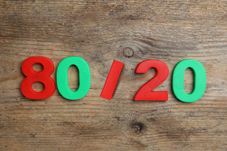 Colorful numbers 80 and 20 on wooden background, flat lay. Pareto principle concept