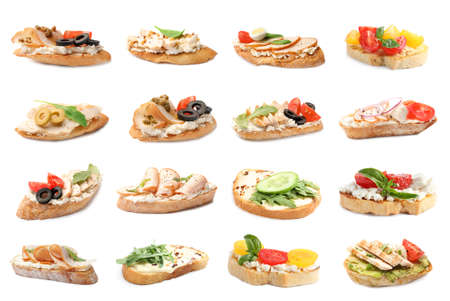 Set of toasted bread with different toppings on white background