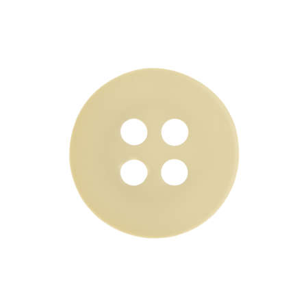 Beige plastic sewing button isolated on white 스톡 콘텐츠