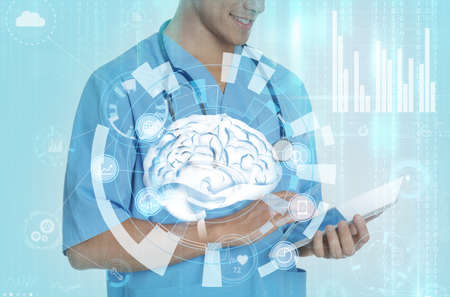 Double exposure of doctor using tablet and artificial intelligence model. Machine learning concept