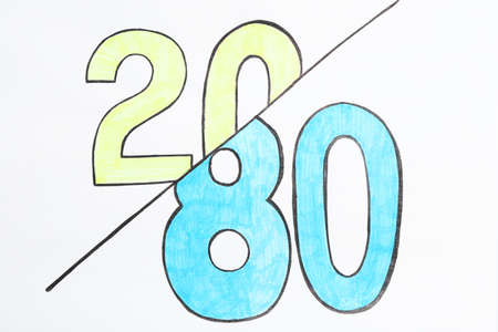 Color numbers 20 and 80 on white background. Pareto principle concept