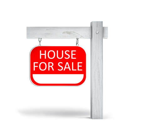 Real estate sign with phrase HOUSE FOR SALE on white background Reklamní fotografie