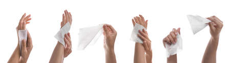 Closeup view of people cleaning hands with wet wipes on white background, collage. Banner design Reklamní fotografie