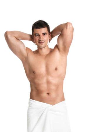 Man with body on white background Foto de archivo