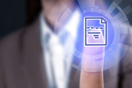Woman clicking on document icon using virtual screen, closeup