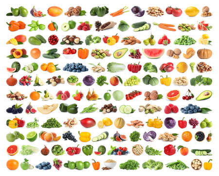 Set of fruits, vegetables. berries and nuts on white background