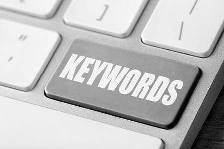 Text KEYWORDS on keyboard button, closeup view Archivio Fotografico