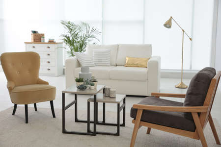 Living room interior with stylish furniture. Idea for design