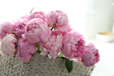 Basket with beautiful pink peonies in kitchen, closeup