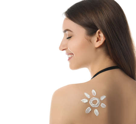 Woman with sun protection cream on her back against white background 免版税图像