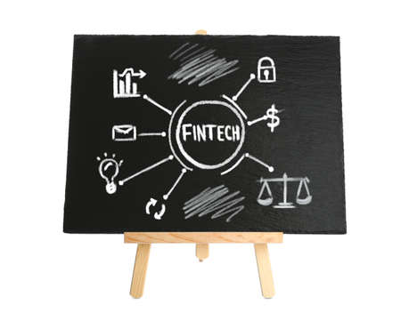 Fintech concept. Scheme with drawings and chalk on blackboard, white background