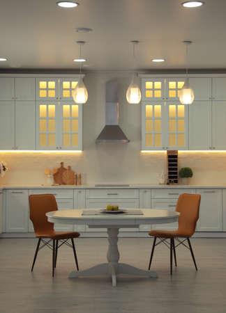 Stylish kitchen interior with modern furniture. Idea for design