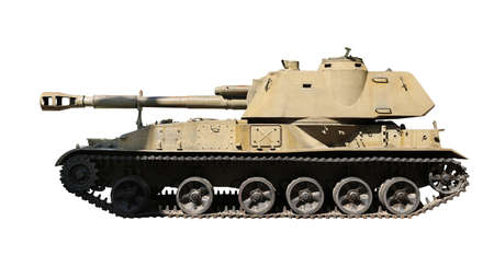 Army tank isolated on white. Military machinery