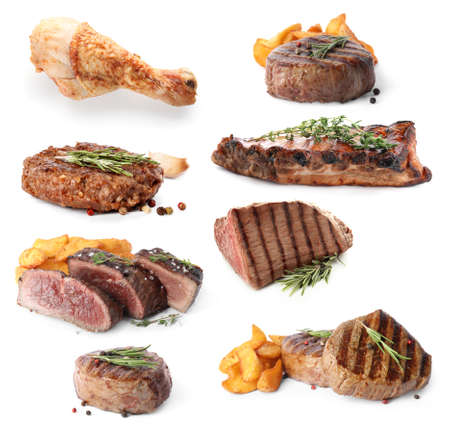 Set with different delicious grilled meat on white background