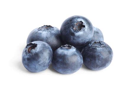 Fresh ripe tasty blueberries on white background