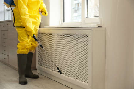Pest control worker in protective suit spraying pesticide near window indoors, closeup Standard-Bild