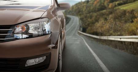 Road trip. Car driving on asphalt highway, banner design