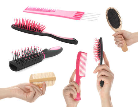 Set with photos of people holding different hair brushes on white background, closeup