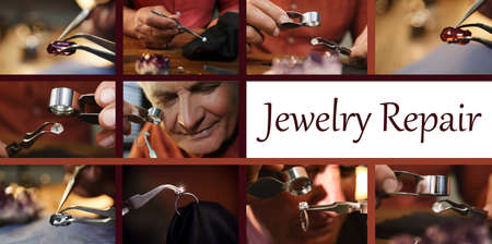 Collage with photos of jewelers at work
