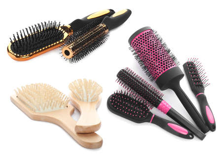 Set with different hair brushes on white background