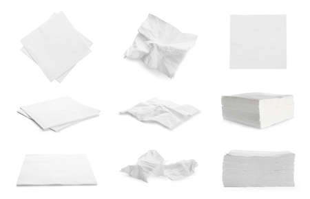 Set with paper napkins on white background Standard-Bild