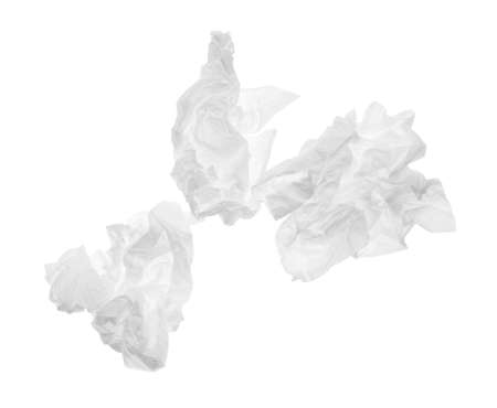Used crumpled paper tissues isolated on white, top view