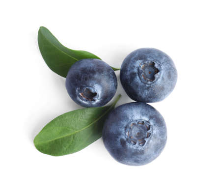 Fresh ripe blueberries on white background, top view