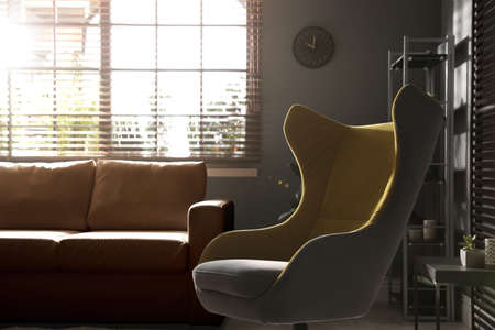 Stylish living room interior with comfortable armchair and leather sofa