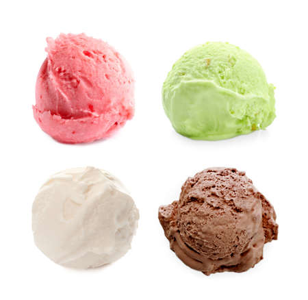 Set with scoops of different ice creams on white background