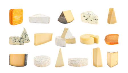 Set with different sorts of cheese on white background. Banner design Фото со стока