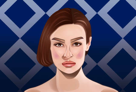 Illustration of beautiful young model on color background. Contemporary art