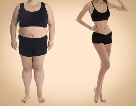 Slim and overweight women on beige background, closeup