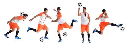 Collage with photos of young man playing football on white background. Banner design Фото со стока