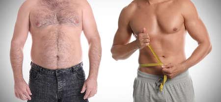 Slim and overweight men on light background, closeup. Banner design 免版税图像