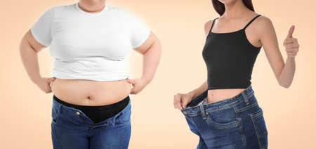 Slim and overweight women on beige background, closeup. Banner design
