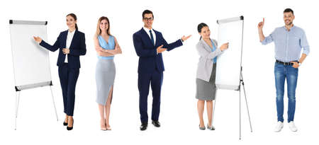 Collage with photos of business trainers on white background, banner design