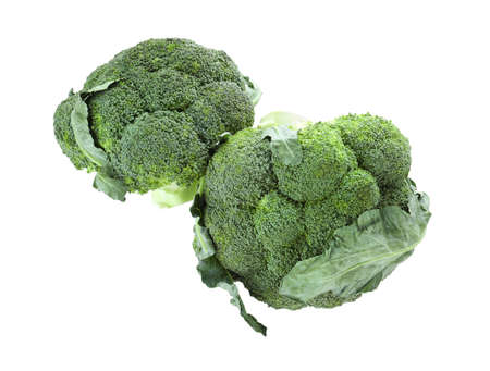 Fresh green broccoli isolated on white, top view. Organic food