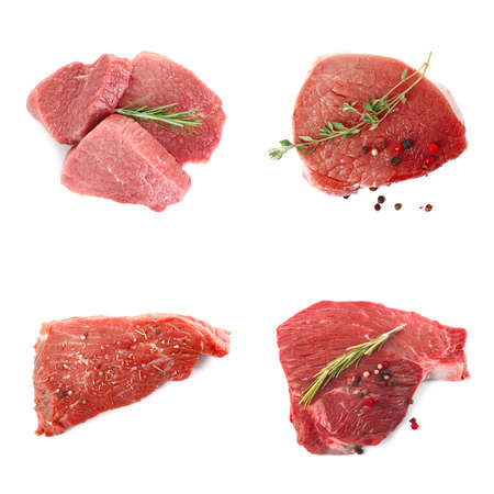 Set with raw meat on white background, top view Reklamní fotografie