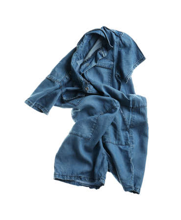 Rumpled denim romper isolated on white. Messy clothes
