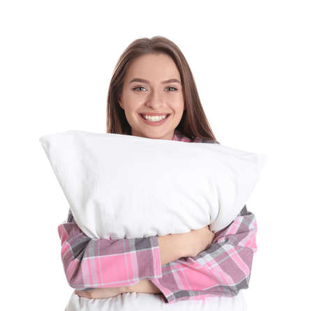 Young woman with pillow on white background 免版税图像