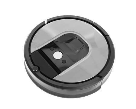Modern robotic vacuum cleaner isolated on white 스톡 콘텐츠