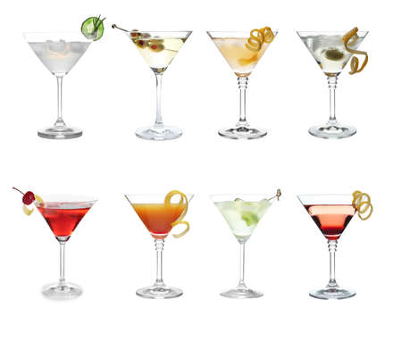 Set with different martini cocktails on white background Foto de archivo
